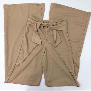 PrettyLittleThing High Waist Wide Leg Tan Pants